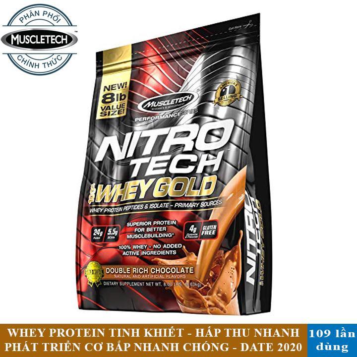 Sữa tăng cơ giảm mỡ Nitro Tech 100% Whey Gold của Muscle tech hương Chocolate bịch 109 lần dùng - Phân phối chính thức