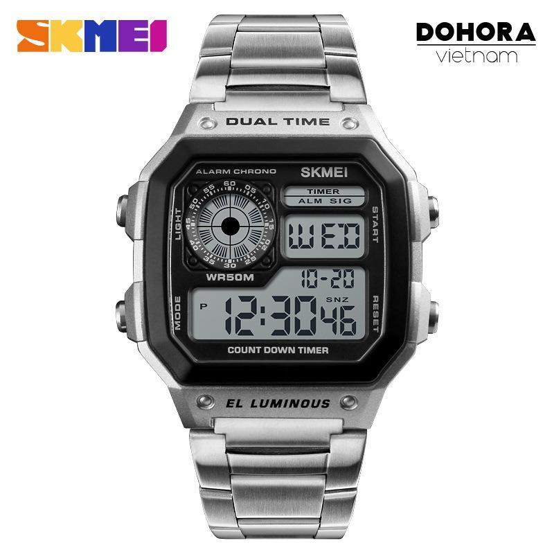 Ôn Tập Đồng Hồ Thể Thao Điện Tử Nam Skmei D044 Digital Watch Day Thep Khong Gỉ