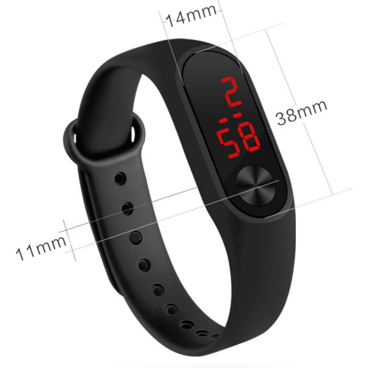 Đồng hồ Đèn LED Nam và nữ kiểu MB2 Dây Silicone chống nước Vòng đeo tay Xiaoni Mibamd 2 (Đen)