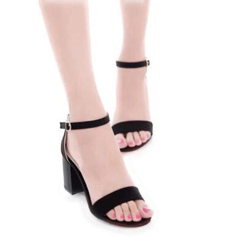 Giày dép sandal cao gót 5 phân da lộn quai ngang đế vuông, dép cao gót nữ, dép sandal nữ  GTT1695 giá rẻ