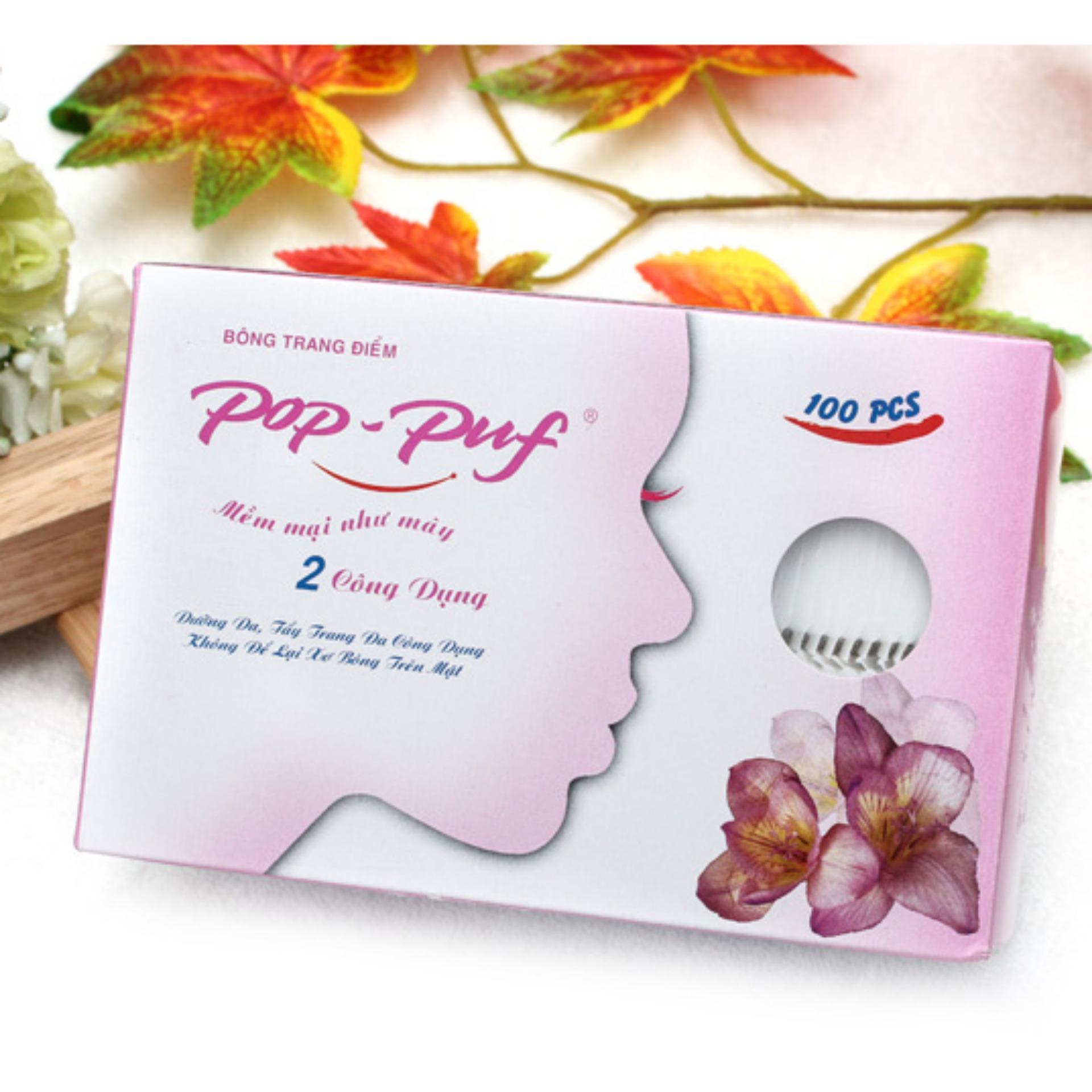 Bông tẩy trang Pop-Puf 2 Công Dụng 100 Miếng ( Trang điểm + tẩy trang)