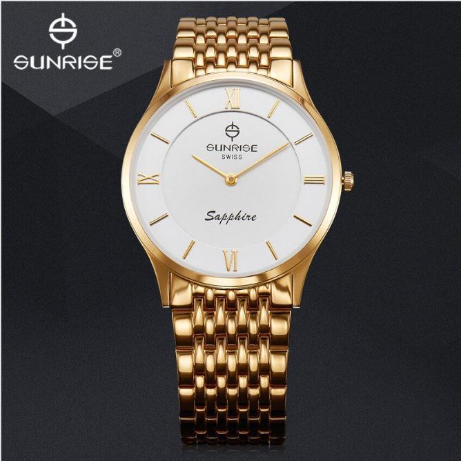 Nơi bán Đồng hồ nam siêu mỏng Sunrise 736 SWB Fullbox hãng kính Sapphire chống xước (Dây vàng mặt trắng)