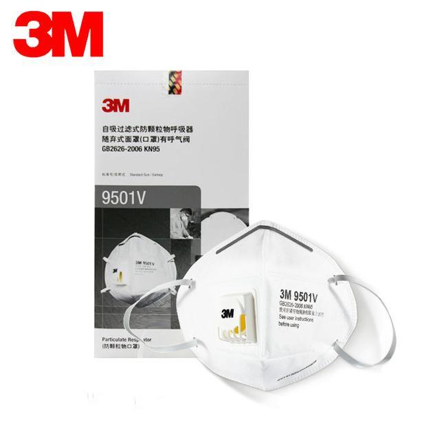Bộ 10 cái khẩu trang chống bụi 3M 9501V ( 9502V) có van 1 chiều lọc mùi hôi, lọc độc, kháng khuẩn, chống bụi siêu mịn
