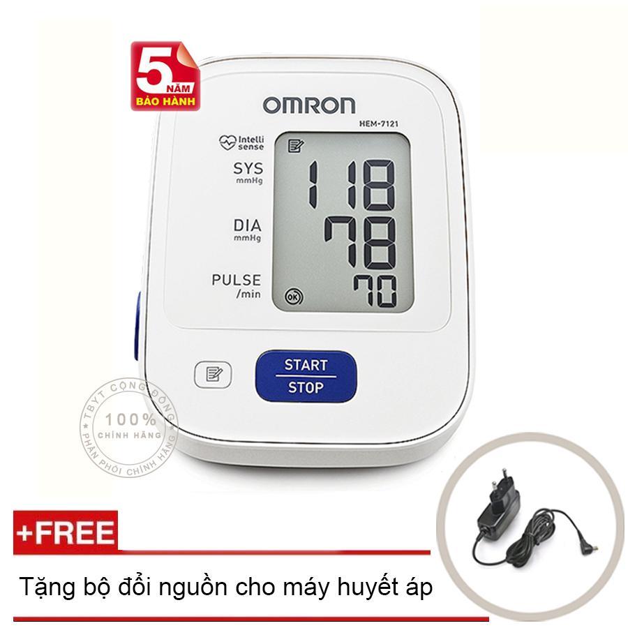 Máy đo huyết áp bắp tay Omron HEM 7121 (Trắng) + Tặng bộ đổi nguồn (OEM) chính hãng