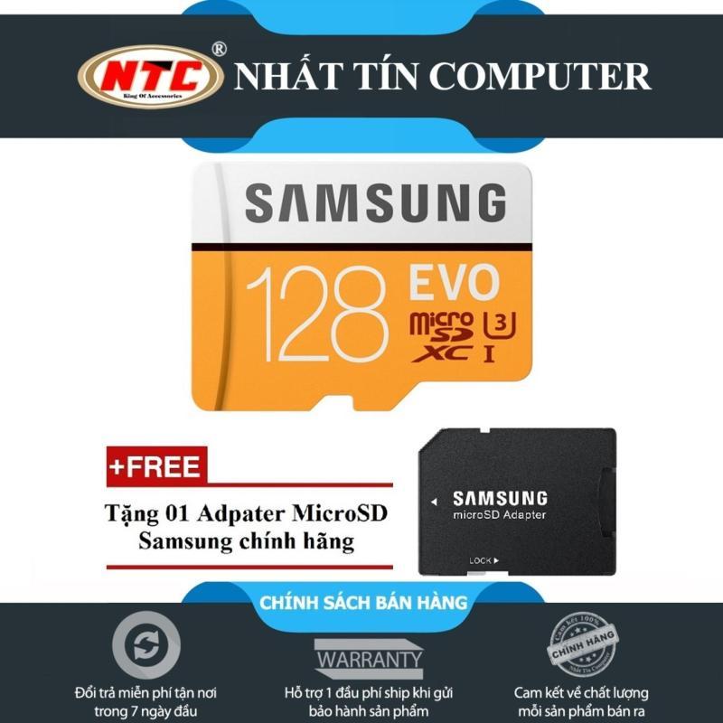 Thẻ Nhớ MicroSDXC Samsung Evo 128gb UHS-I U3 100mb/S - Model 2017 (Cam) + Tặng MicroSD Adapter Samsung chính hãng