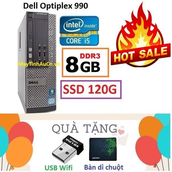 Thùng Đồng Bộ Dell Optiplex 990 (Core i5 2400 / 8G / SSD 120G ), Tặng USB Wifi , Bàn di chuột , Bảo hành 02 năm - Hàng Nhập Khẩu