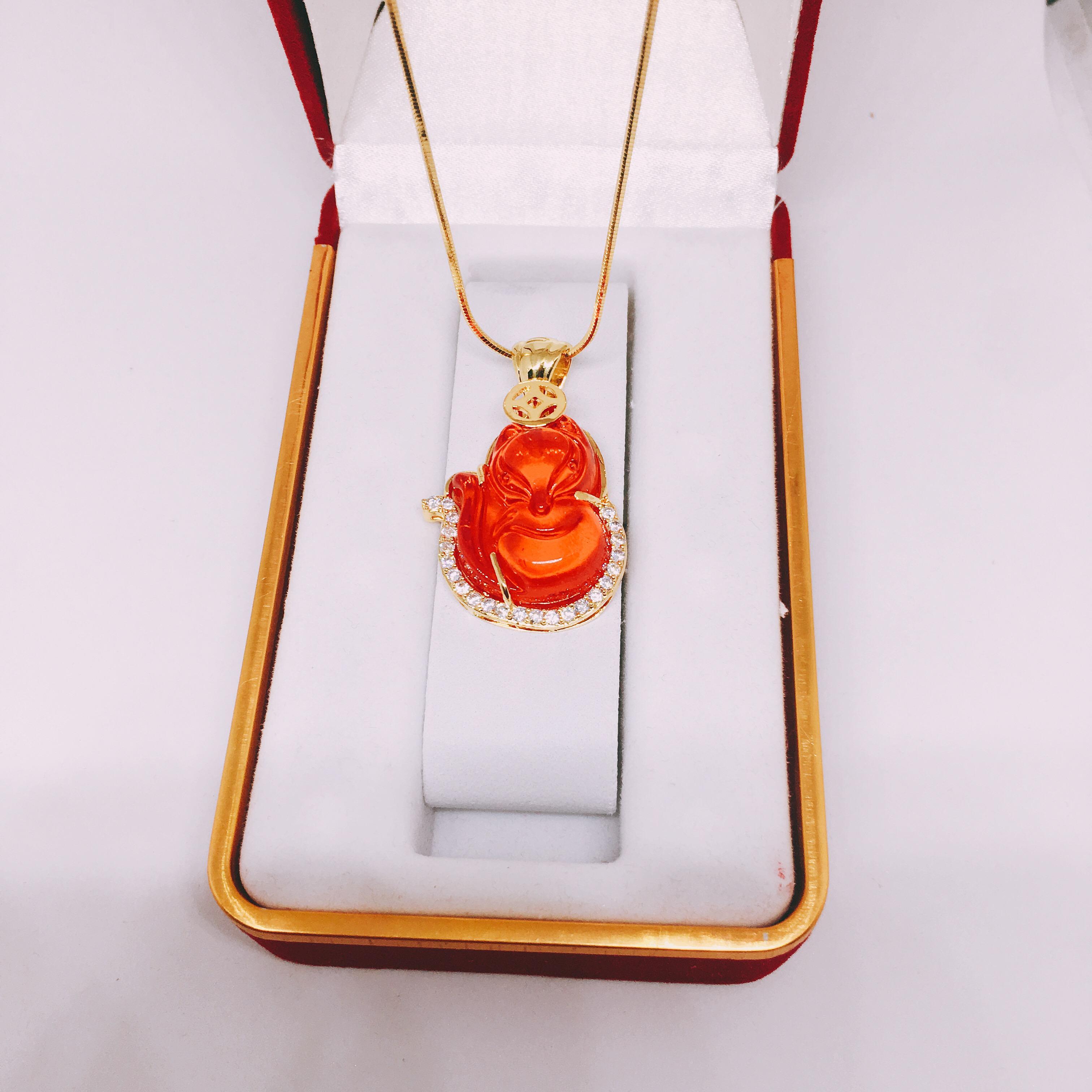 Dây chuyền nữ bạc Thái mạ vàng cao cấp + mặt phong thủy ( Hồ ly đỏ)