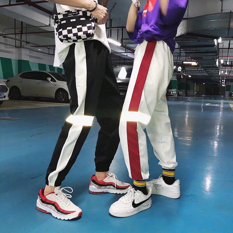 Quần Jogger Hiphop Nam Nữ Viền Vạch Phản Quang - Krixi Fashion Nhật Bản