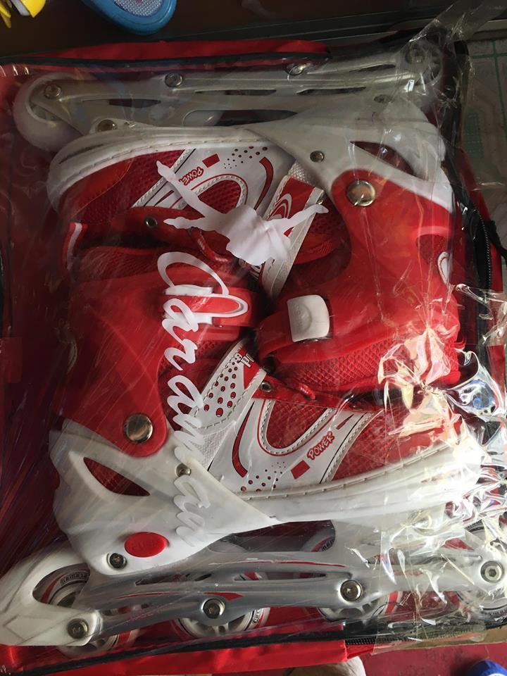Giày Trượt Patin QF Màu Trắng-Đỏ Full Size