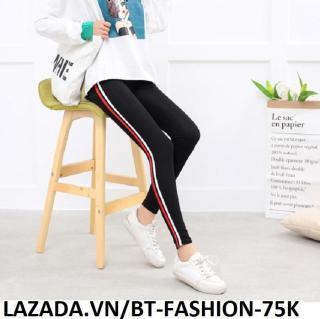 Quần Dài Nữ Thun Ôm Legging Thể Thao Thời Trang Hàn Quốc - BT Fashion (QTT04B-2 SỌC) thumbnail