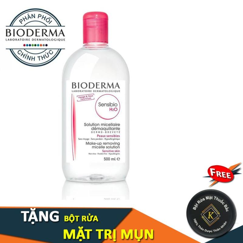 Nước Tẩy Trang Bioderma  H2O 500ml - Hồng ( Tặng Bột Rửa Mặt ) nhập khẩu