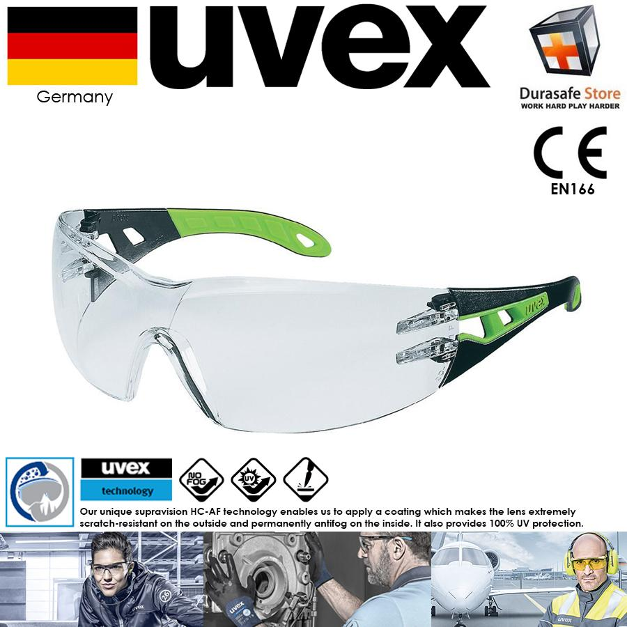 KÍNH UVEX 9192225 Pheos Safety Glasses Black/Green Frame Clear Supravision HC-AF Len