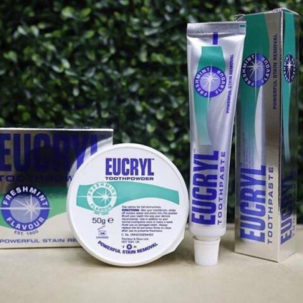 Bộ kem đánh răng và Bột tẩy trắng răng EuCryl nhập khẩu từ Anh giá rẻ