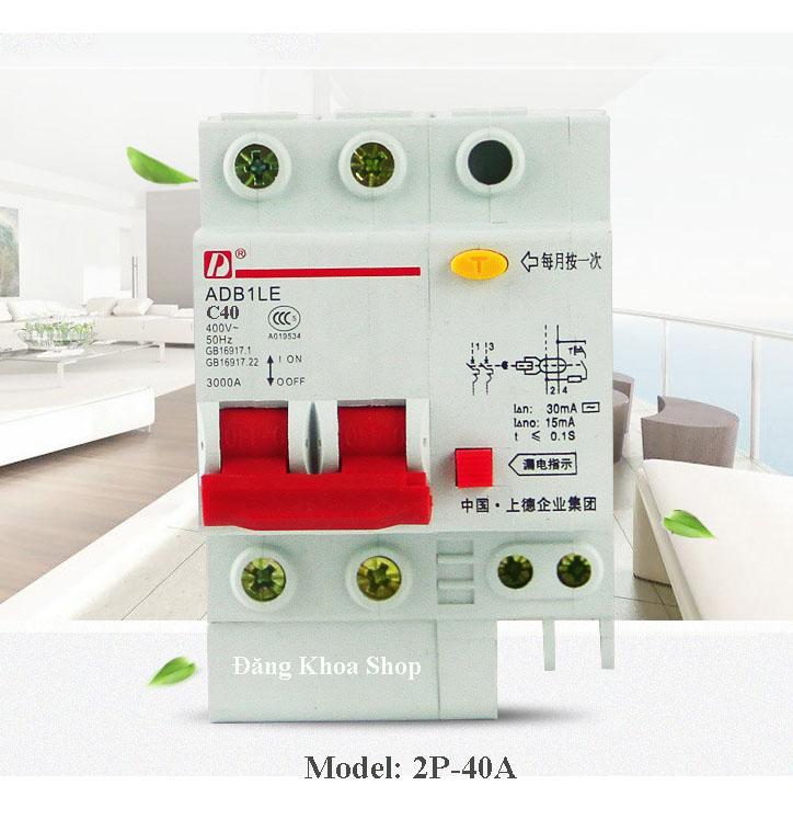 Thiết bị ngắt mạch điện tử (Aptomat chống giật) 2Pha 40A