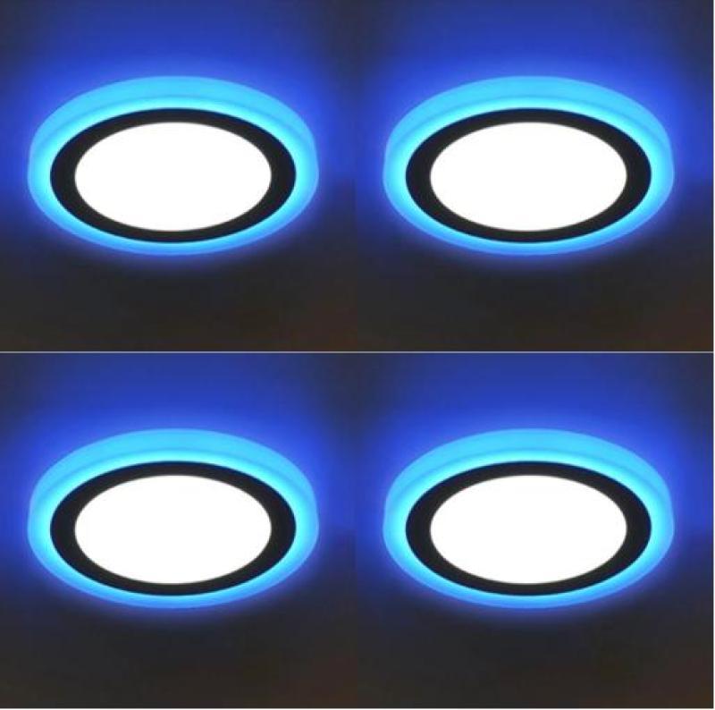 Combo 4 bộ đèn led ốp trần tròn 24w 2 màu 3 chế độ sáng trắng viền xanh