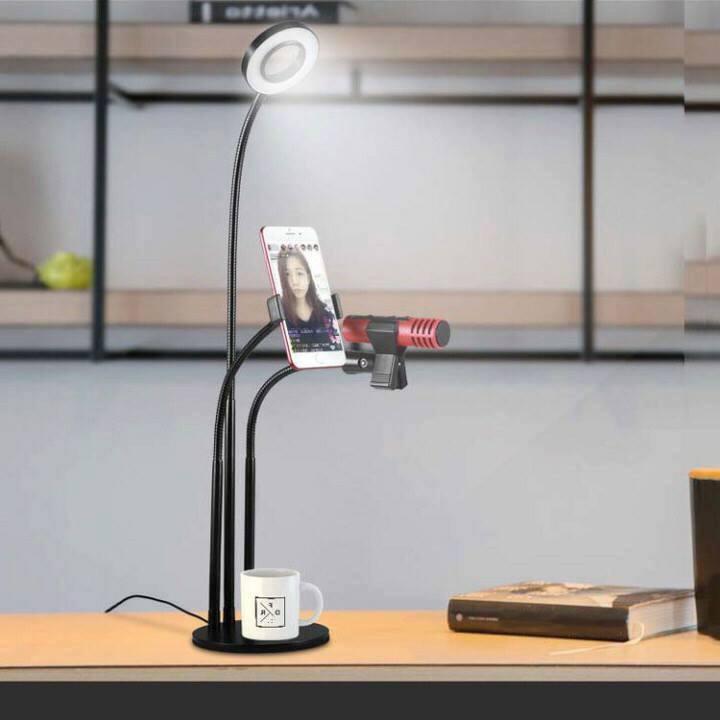 Bộ livestream đa năng 3 trong 1 - Đèn LED, Giá đỡ điện thoại, Giá đỡ Micro