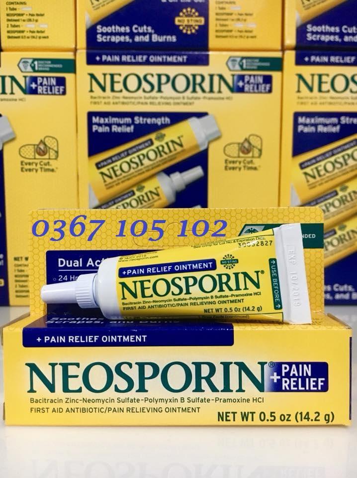Kem mỡ kháng viêm, liền sẹo Neosporin + Pain Relief tuýp nhỏ 14.2 gr - hàng xách tay Mỹ cao cấp