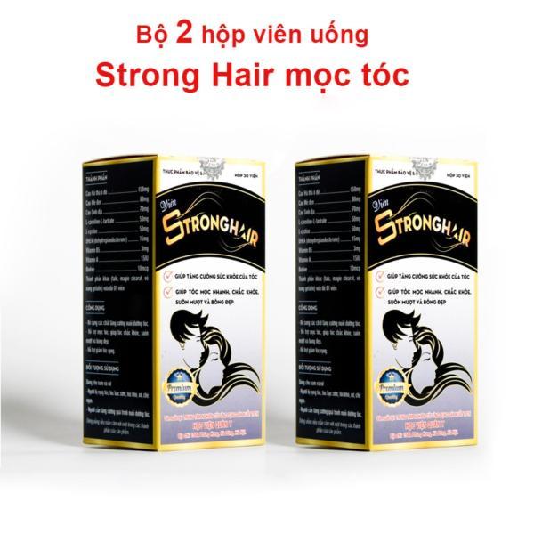 Liệu trình 15 ngày 2 hộp viên uống Strong hair HVQY giúp mọc tóc, đen tóc