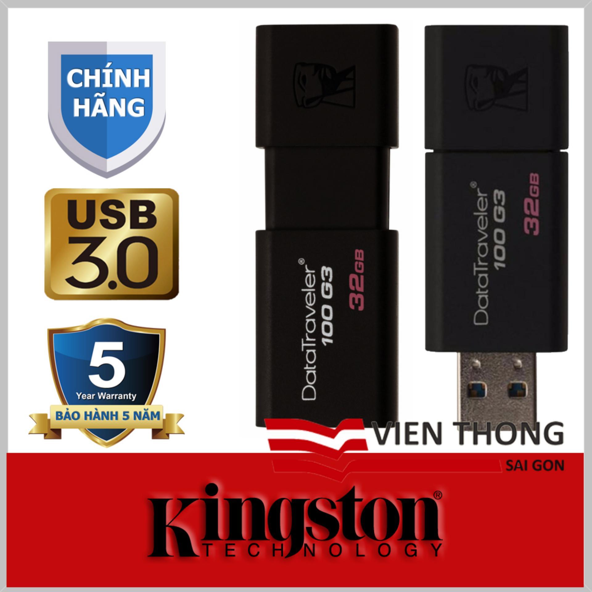 Hình ảnh USB 3.0 Kingston Data Traveler DT100G3 100MB/s 32GB (Đen) - Hãng phân phối chính thức
