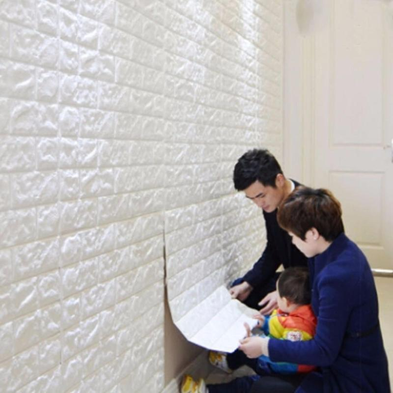 Combo 10 Tấm Xốp Dán Tường 3D giả gạch HÀN QUỐC khổ lớn giá rẻ / Kích thước 70x77 SuperDecor