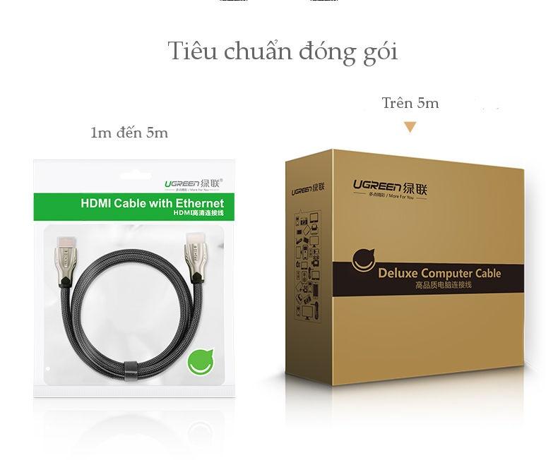 Dây cáp HDMI 2.0 4K60Hz UGREEN HD102 thuần đồng 19+1, đầu hợp kim, cáp dạng dẹt và dạng tròn vỏ bọc lưới, dài 1m 1.5m 2m 3m - Tương thích với SmartTV, đầu DVD, Set top box, máy chiếu