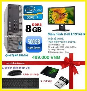 Bộ máy tính để bàn đồng bộ Dell optiplex 390 ( Core i7 8G 500G ) , Màn hình Dell 18.5 Wide - Led , Tặng Bàn phím chuột Dell , USB wifi , bàn di chuột - Hàng Nhập Khẩu thumbnail