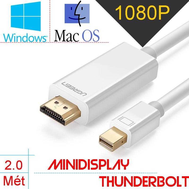 Dây cáp chuyển Minidisplay port/Thunderbolt ra HDMI full HD 1080P-60Hz, giúp chuyển tín hiệu từ Macbook, Imac, Mac Mini Surface, Lenovo ThinkPad X1 Carbon ra TV, Máy chiếu 3 mét UGREEN 10419 (màu trắng)