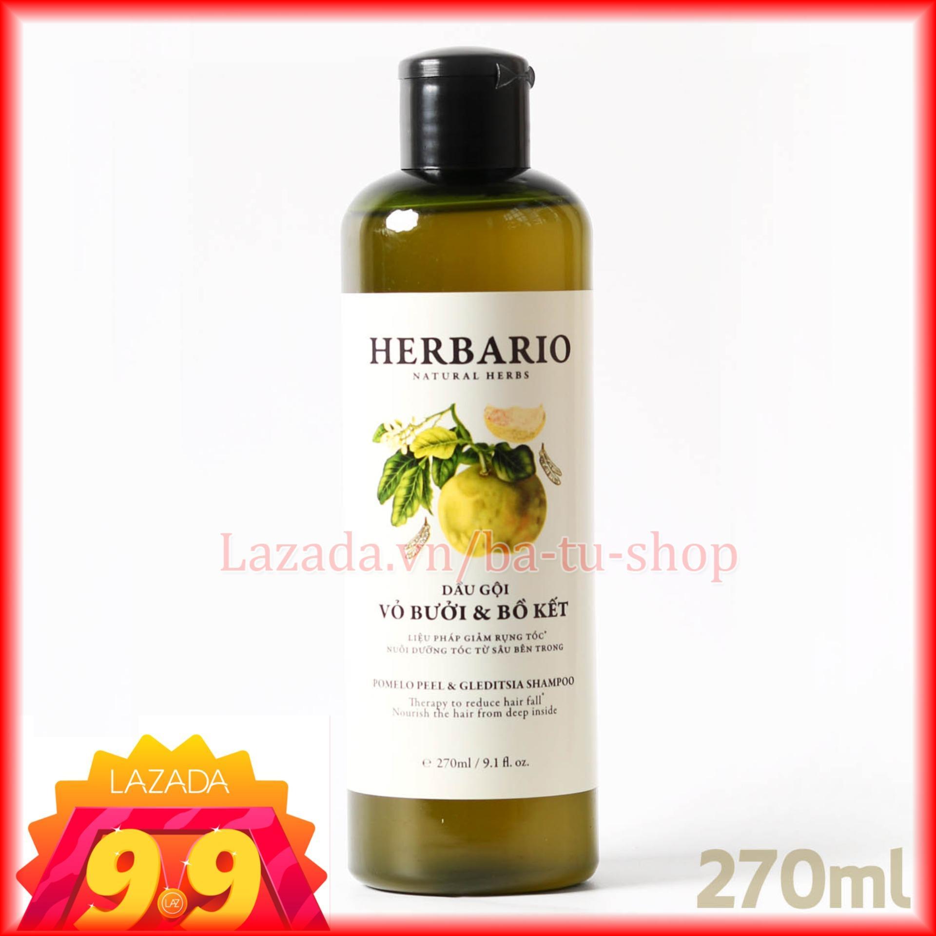 Dầu Gội Vỏ Bưởi Bồ Kết HERBARIO trị rụng tóc, phục hồi tóc, giúp tóc khỏe mạnh mềm mượt 270ml