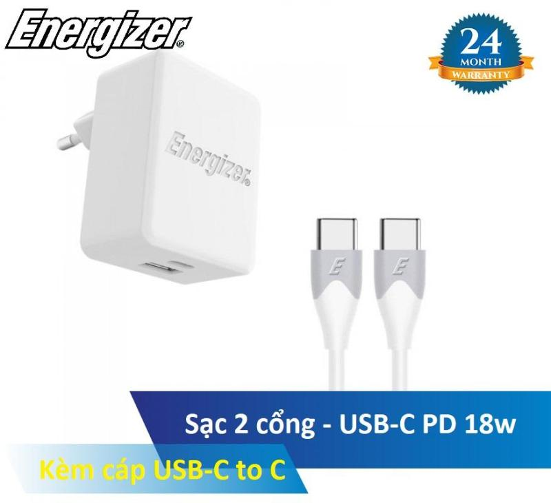 Bộ sạc 2 cổng Energizer AC11PFEUUCC3 - USB-C PD, Kèm cáp USB-C