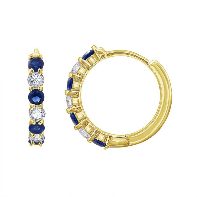 Hoa tai Sapphire Hoop J'admire bạc 925 cao cấp mạ Vàng 14K đính đá Sapphire nhân tạo cao cấp và Cubic Zirconia trắng