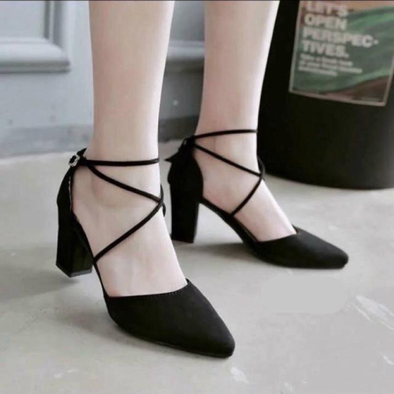 Giày cao gót nữ đế vuông bít mũi dây chéo xinh xắn dễ thương - 7cm giá rẻ