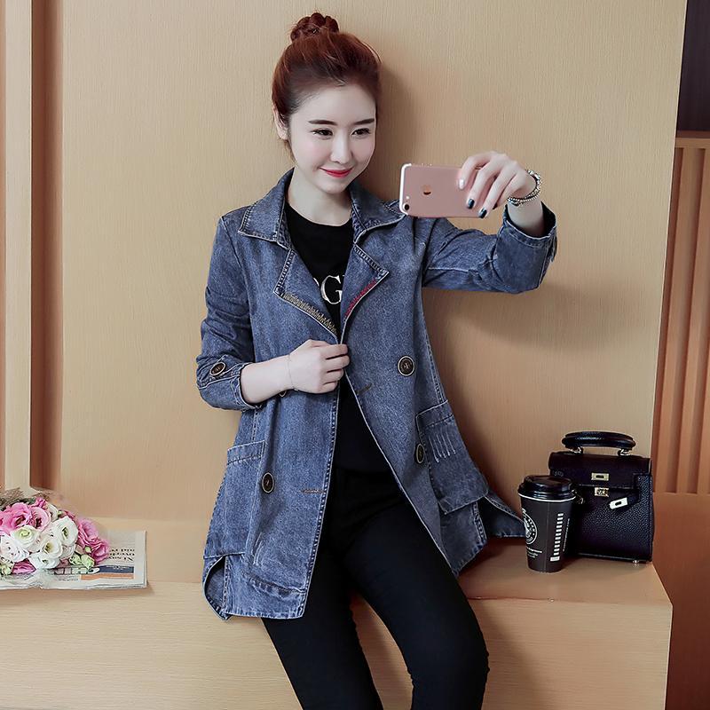 Vải Bò Áo Khoác Nữ Kiểu Lửng 2020 Mùa Xuân Và Mùa Thu Mẫu Mới Phiên Bản Hàn Quốc Mốt Thời Thượng Nữ Áo Khí Chất Dễ Phối Vải Bò Áo Gió