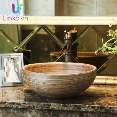 Chậu rửa lavabo gốm sứ nghệ thuật LAV0019 – Thiết kế giả gỗ độc đáo
