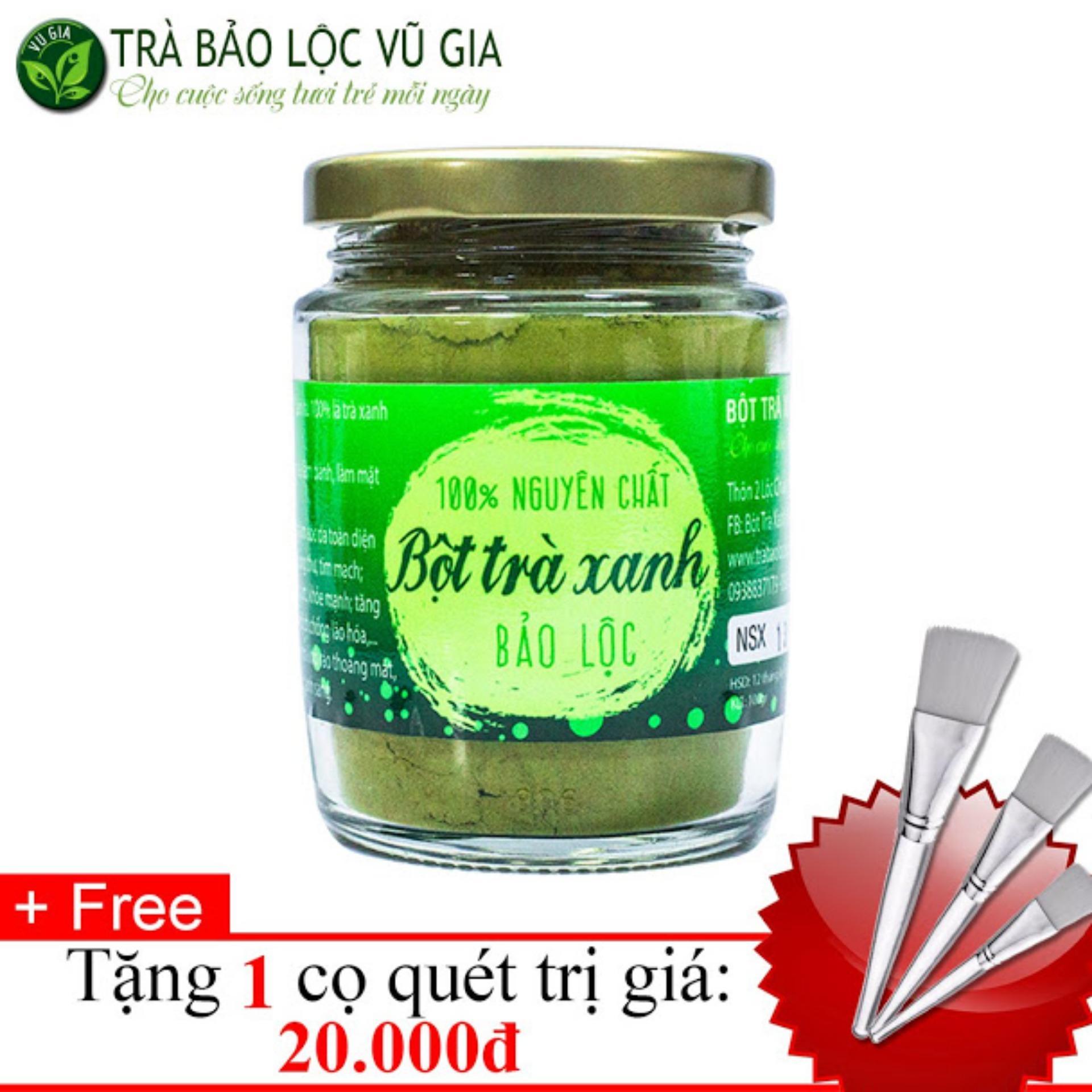 Bột Trà Xanh Nguyên Chất Bảo Lộc VG (100gr/ml/ hũ) + Tặng Cọ Quét