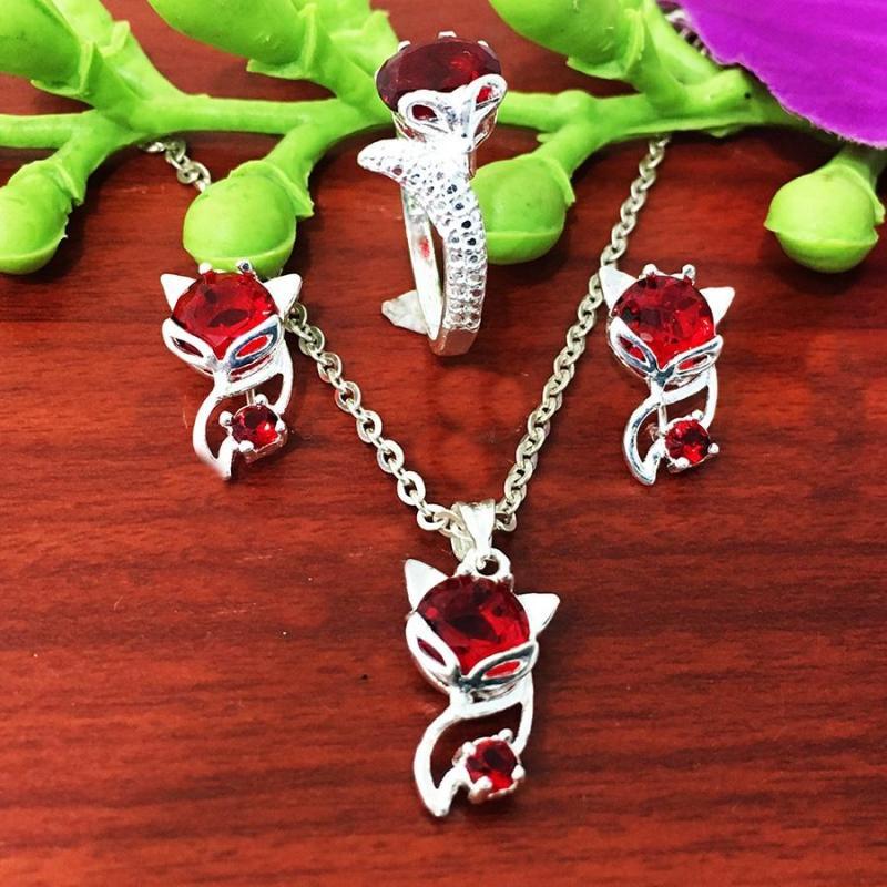 Bộ trang sức hồ ly bạc 925 cao cấp trang sức Bạc QTJ - bts40b - bộ trang sức hồ ly đá đỏ mệnh thủy - mệnh kim (bạc)
