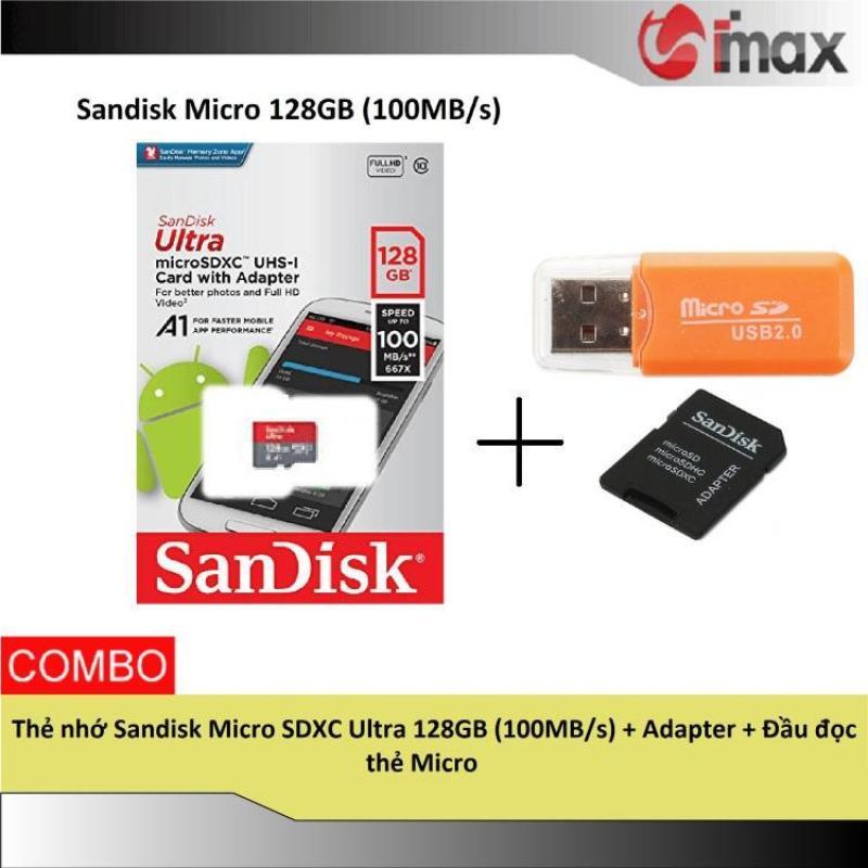 Thẻ nhớ Sandisk Micro SDXC Ultra 128GB (100MB/s) + Adapter + Đầu đọc thẻ Micro
