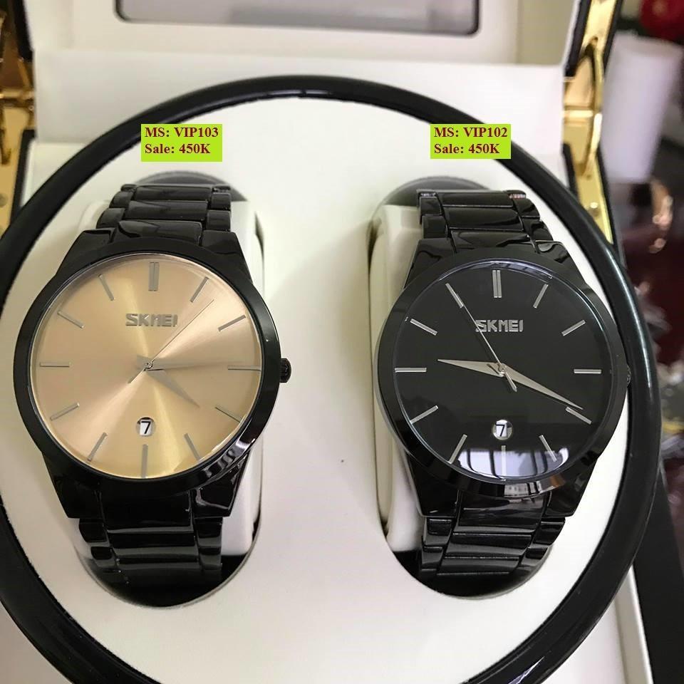 Đồng hồ nam SKMEI khung thép đen lịch lãm sang trọng mẫu hot 2018