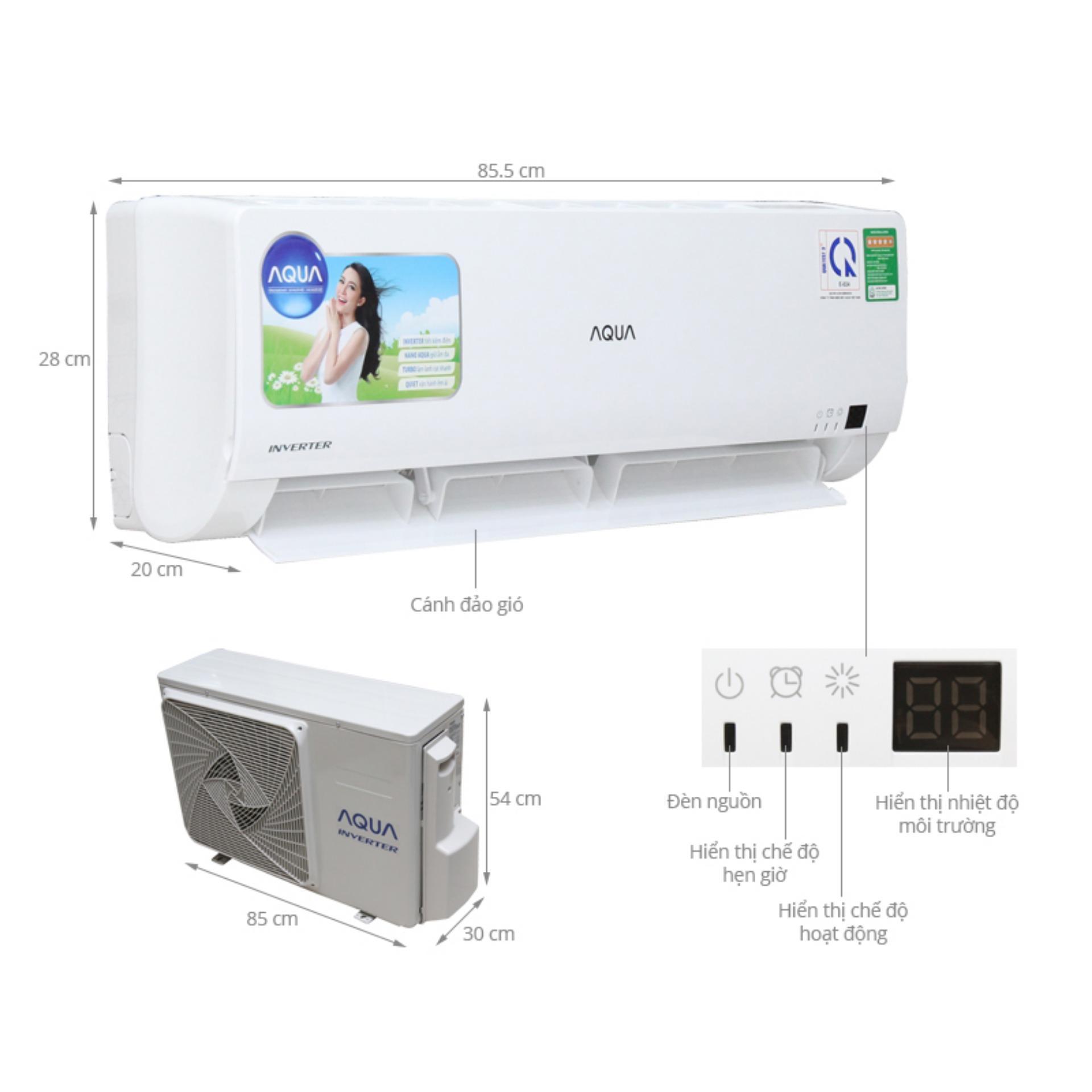 Hình ảnh Máy Lạnh Inverter 1.5hp Aqua AQA-KCRV12WGSA ( Cao Cấp)