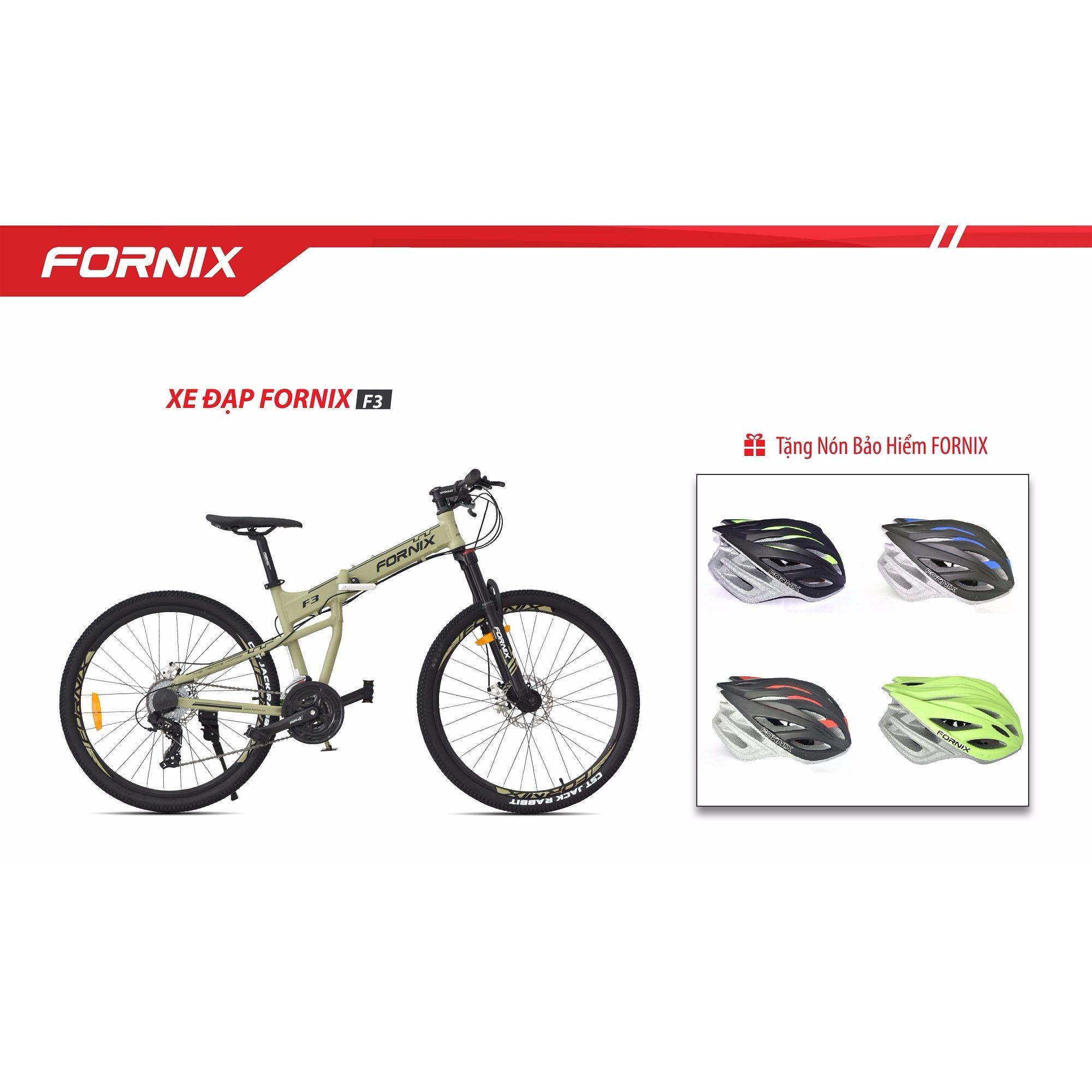 Xe đạp gấp địa hình thể thao Fornix F3 (Xanh lá đen)+ tặng nón bảo hiểm A02NX1
