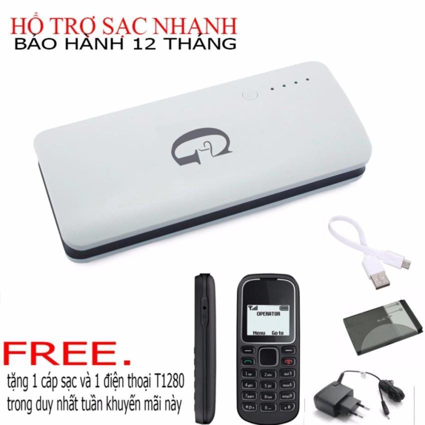 Hình ảnh Pin sạc dự phòng G01 Litinum 10000MAH (Trắng) -hổ trợ sạc nhanh + TẶNG 1 điện thoại T1280,pin chống phù,sạc và cáp sạc