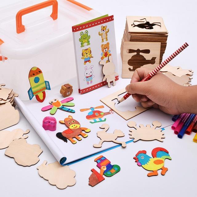Hình ảnh Bộ khung hình tập vẽ cho bé loại to 56 chi tiết bằng gỗ