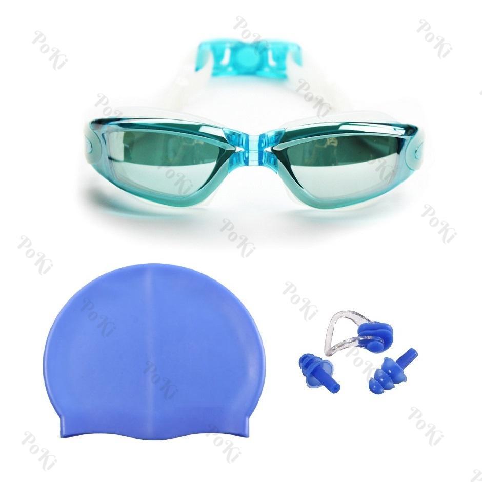 Hình ảnh Bộ kính bơi 2360, Mũ bơi, Bịt tai kẹp mũi, đồ bơi thời trang cao cấp - POKI