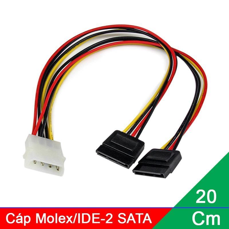 Cáp chuyển nguồn 1 Molex/IDE ra 2 đầu SATA, cấp nguồn cho Ổ cứng SATA, Ổ DVD 20Cm