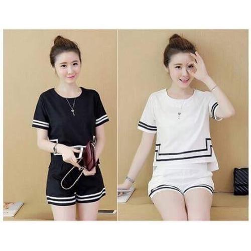 Set đồ bộ nữ dễ thương (đen, trắng)