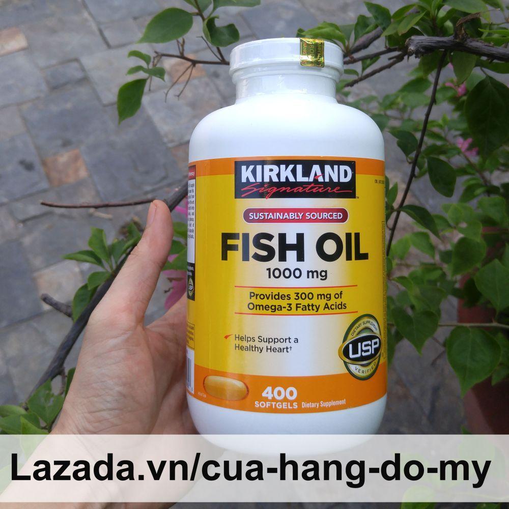 Viên Uống Dầu Cá Kirkland Fish Oil Nắp Trắng - Nắp Vặn 1000mg 400V -  giúp sáng mắt, đẹp da, ngăn ngừa ung thư