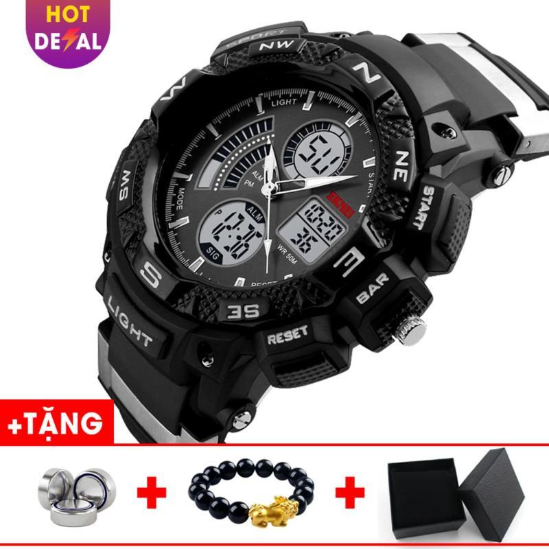 Đồng hồ nam điện tử tích hợp dây cao su cao cấp SKMEI SK026 (Đen-Xám) - Boss Watches