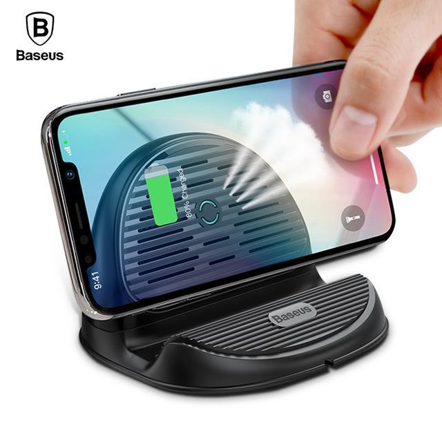 Hình ảnh Đế sạc nhanh không dây công xuất 10W thông minh có quật tản nhiệt 3in1 kiêm giá đỡ chuẩn Qi cho iphone X , iphone 8,Samsung S9, Note8 đến từ Hãng Baseus