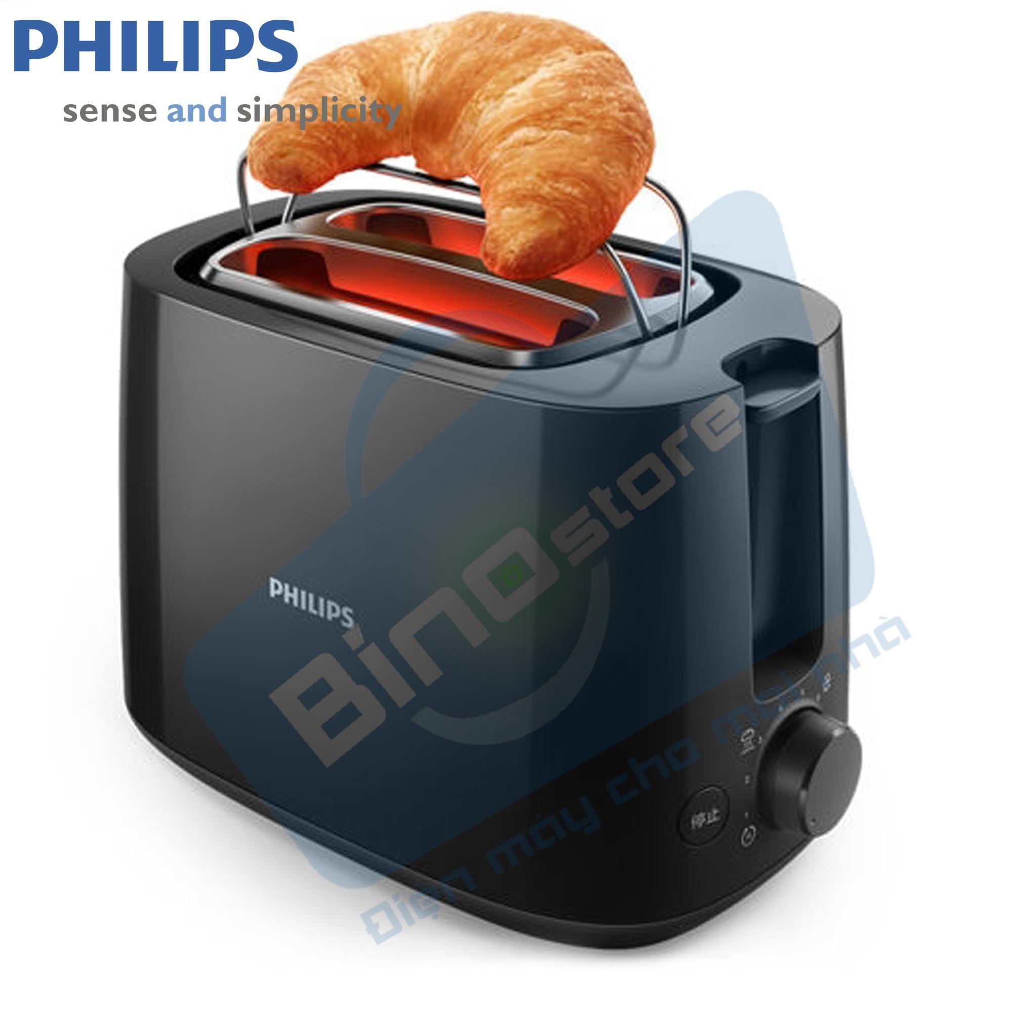 Hình ảnh Máy nướng bánh mì Philips HD2582 830W (Đen) - Hàng nhập khẩu