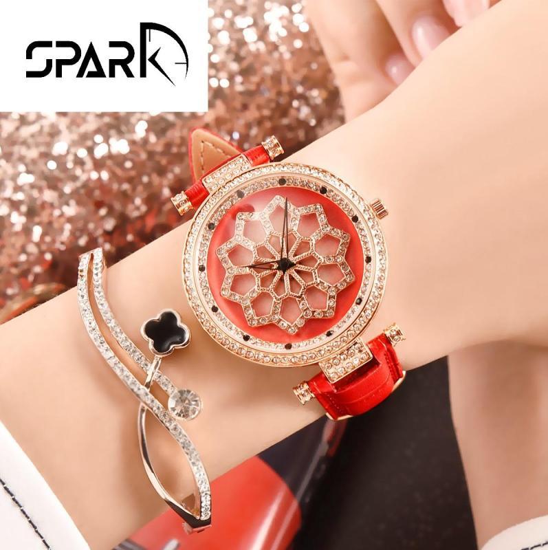 Nơi bán Đồng hồ nữ Menots dây da mặt hoa đính đá xoay 360 độ độc đáo tinh tế + Tặng hộp đồng hồ sang trọng + Pin