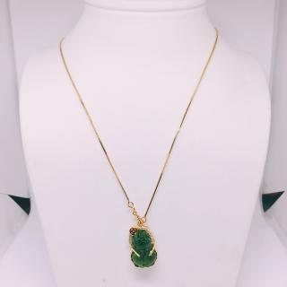 Nữ trang Dây chuyền nữ bạc Thái mạ vàng cao cấp + mặt phong thủy ( tỳ hưu xanh lục ngậm tiền vàng tài lộc may mắn ) thumbnail